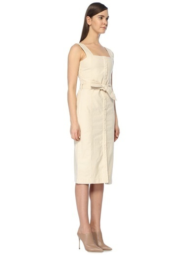 Kare Yaka Beli Kuşaklı Midi Elbise-Nanushka